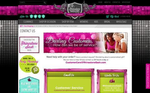 Screenshot of Contact Page rhinestonesash.com - Contact Us | Customer Service | Contact Info | Address | Phone Number | RhinestoneSash.com - captured Oct. 7, 2014