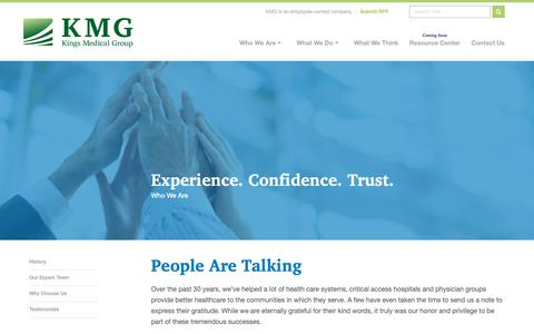 Screenshot of Testimonials Page kingsmedical.com - King's Medical Group - Mobile MRI, In-House MRI and Modular MRI Solutions - captured Oct. 15, 2018