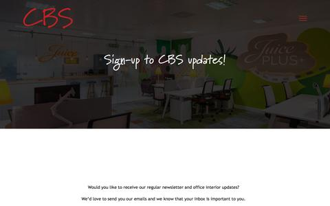 Screenshot of Signup Page cbs-plc.co.uk - Stay up to date with CBS news and updates - CBS Office Interiors - captured Sept. 25, 2018