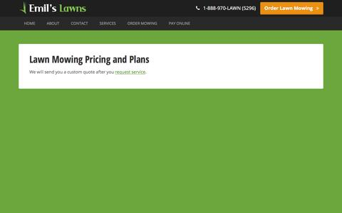 Screenshot of Pricing Page emilslawns.com - Lawn Mowing Pricing and Plans � Emil's Lawns - captured Dec. 9, 2015