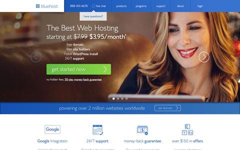 Screenshot of Home Page bluehost.com - The Best Web Hosting | Fast Professional Website Hosting Services - Bluehost - captured Dec. 10, 2015