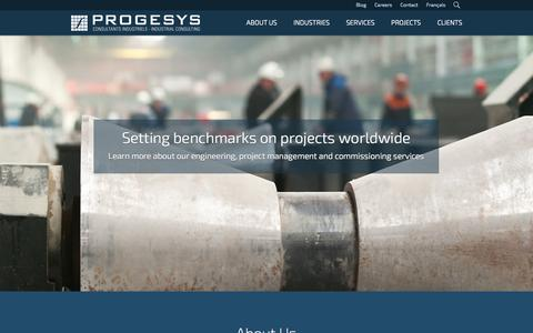 Screenshot of Home Page About Page progesys.ca - About Us - Progesys - captured Oct. 3, 2014