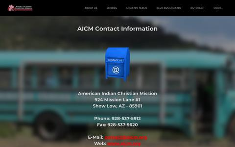 Screenshot of Contact Page aicm.org - Contact - The American Indian Christian Mission - captured Oct. 30, 2018