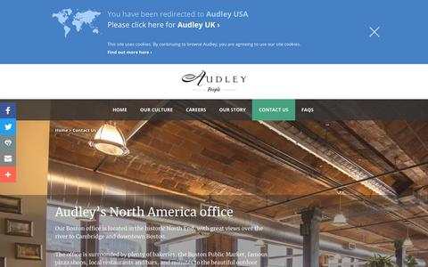 Screenshot of Contact Page audleytravel.com - Contact Us | Boston Office Contact Details | Audley Careers - captured Nov. 25, 2017
