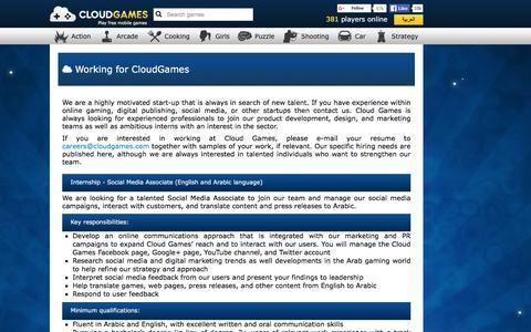Screenshot of Jobs Page cloudgames.com - Cloud Games - Jobs - captured Dec. 9, 2015