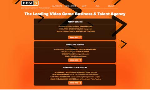 Screenshot of Home Page ddmagency.com - The Leading Video Game Business & Talent Agency | DDM | Digital Development Management - captured Oct. 5, 2014
