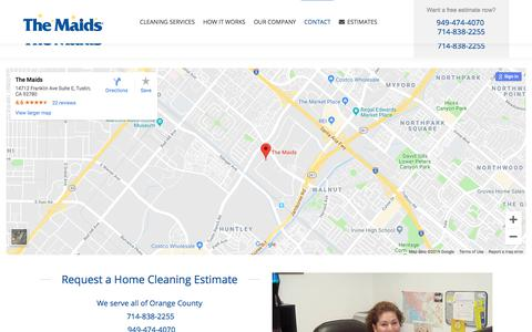 Screenshot of Contact Page themaidsoc.com - Contact themaidsoc.com maid service in Orange County, CA | The Maids Home Cleaning in Orange County, CA - captured July 5, 2019