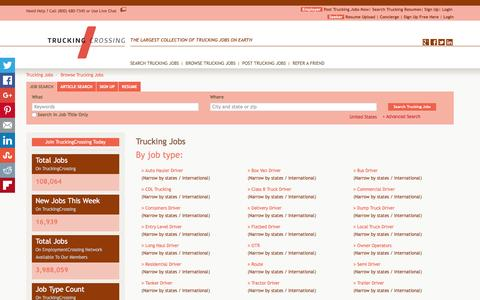 Screenshot of Jobs Page truckingcrossing.com - Browse Trucking Jobs By Job Title, City, State   TruckingCrossing.com - captured Feb. 27, 2016