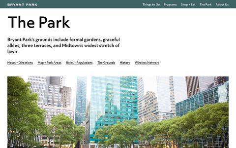 Screenshot of Hours Page bryantpark.org - Bryant Park - The Park - captured Oct. 11, 2017