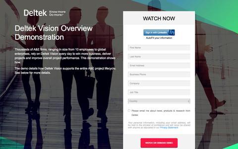 Screenshot of Landing Page deltek.com - Deltek Vision Overview Demonstration - captured Dec. 21, 2015