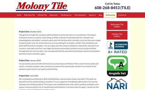 Screenshot of Testimonials Page molonytile.com - Testimonials - Molony Tile - captured Sept. 21, 2018