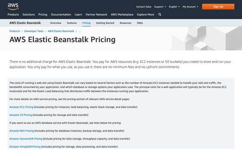 Screenshot of Pricing Page amazon.com - AWS Elastic Beanstalk Pricing - Amazon Web Services (AWS) - captured May 8, 2019