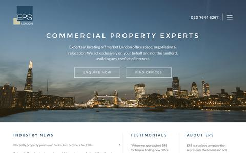 Screenshot of Home Page epslondon.com - Office Acquisition & Relocation Experts | EPS London - captured July 9, 2016