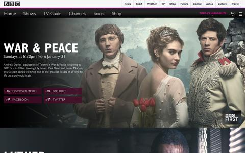 Screenshot of Home Page bbcaustralia.com - Home | Show Highlights | BBC Worldwide Australia - captured Feb. 4, 2016