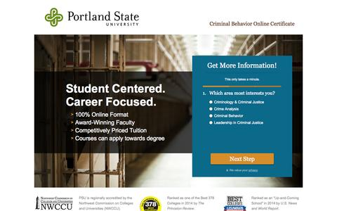 Screenshot of Landing Page pdx.edu - Online Certificate in Criminal Behavior | Online Criminal Justice Degree from PSU - captured Oct. 27, 2014