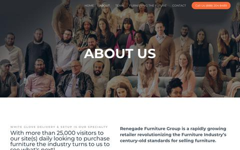 Screenshot of About Page renegadefurniture.com - ABOUT – Renegade Furniture Group - captured June 7, 2019