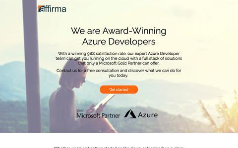 Screenshot of Landing Page affirmaconsulting.com - Affirma | Azure Development - captured Jan. 12, 2018