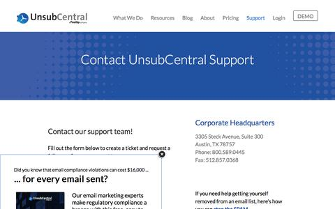 Screenshot of Support Page unsubcentral.com - Contact Support - UnsubCentral - captured Sept. 22, 2018