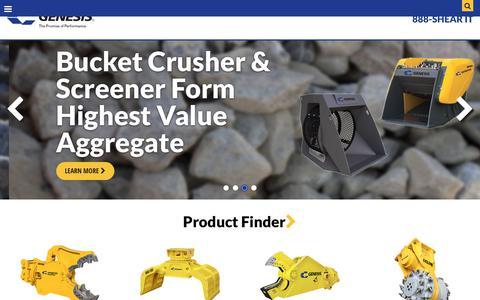 Screenshot of Home Page genesisattachments.com - Genesis Attachments - captured Sept. 22, 2018