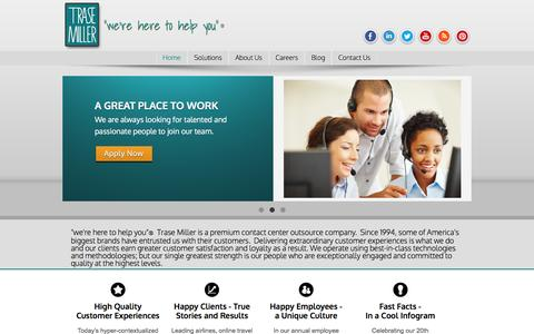 Screenshot of Home Page trasemiller.com - Home Page Trase Miller Premium Contact Center Fulfillment Travel, Airlines, Financial Services - captured Nov. 18, 2016