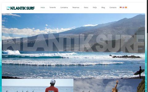 Screenshot of Home Page atlantiksurf.com - Escuela de Surf en Tenerife | Surf School Tenerife - AtlantikSurf © - captured July 31, 2018