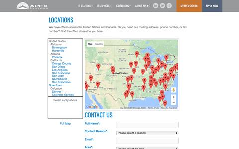 Screenshot of Contact Page Locations Page apexsystems.com - Apex |              Connect with Us - captured Nov. 21, 2016