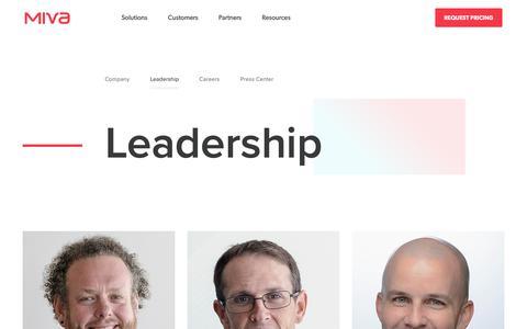 Screenshot of Team Page miva.com - The Miva Management Team - captured Nov. 20, 2018