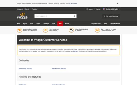 Screenshot of Support Page wiggle.co.uk - Wiggle Customer Services - captured Oct. 2, 2015