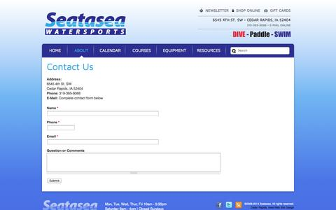 Screenshot of Contact Page seatasea.com - Contact Us   Seatasea Watersports Center   The Midwest's Source for Scuba, Snorkeling, Kayaking, Canoeing, Swimming and Triathlon - captured Oct. 6, 2014