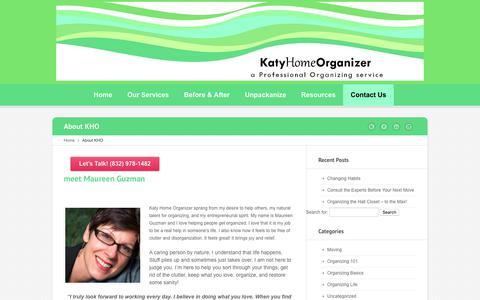 Screenshot of About Page katyhomeorganizer.com - About Katy Home Organizer | Houston Home Organization Service - captured June 9, 2017