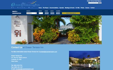 Screenshot of Contact Page oceanterraceinn.com - St. Kitts Hotels | St. Kitts Inns | St. Kitts Lodging | St. Kitts Accomodations | Ocean Terrace Inn - captured Sept. 30, 2014