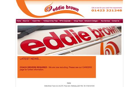 Screenshot of Press Page eddiebrowntours.com - new brochures out now, special offers available, new tours on sale, late availability, check for current vacancies with the company - captured Sept. 30, 2014