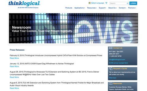 Screenshot of Press Page thinklogical.com - Newsroom   Thinklogical - captured Feb. 29, 2016