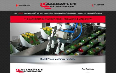 Screenshot of About Page alliedflex.com - Allied Flex provides the complete solution in innovative pouch packaging. | Alliedflex - captured Oct. 4, 2014