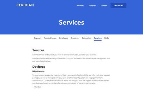 Screenshot of Support Page ceridian.com - HR Payroll Services | Dayforce | Powerpay | Ceridian - captured Feb. 5, 2018