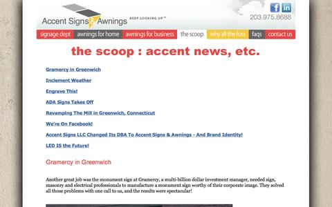 Screenshot of Press Page accent-signs.com - Sign company Connecticut, Awning company Connecticut, Trade Show company Connecticut : Welcome! - captured Sept. 30, 2014