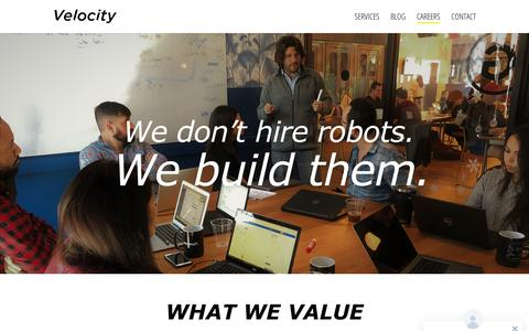 Screenshot of Jobs Page velocityrpa.com - Careers | Velocity RPA - captured July 10, 2018