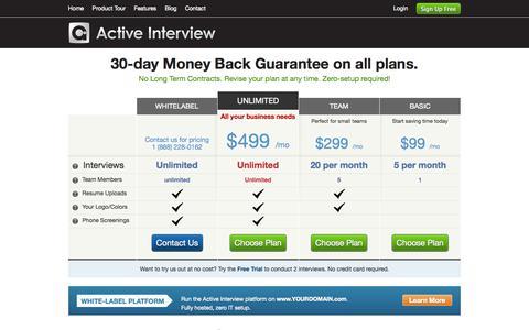 Screenshot of Pricing Page activeinterview.com - Video Interviewing Plans & Pricing | Active Interview - captured Sept. 26, 2014