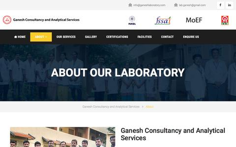 Screenshot of About Page ganeshlaboratory.com - Ganesh Consultancy and Analytical Services | Ganesh Laboratory - captured Oct. 25, 2016