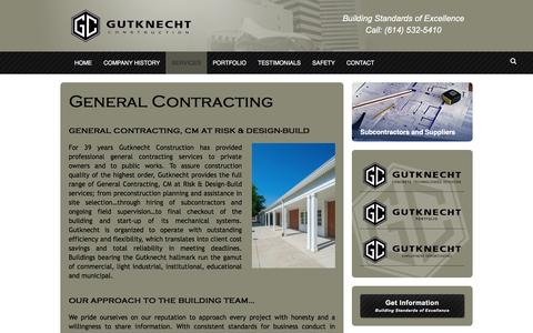 Screenshot of Services Page gutknecht.com - General Contracting - Gutknecht Construction - captured Feb. 2, 2016