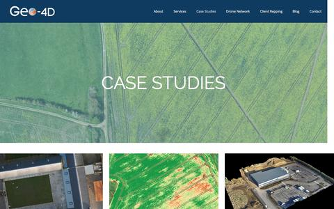Screenshot of Case Studies Page geo-4d.com - Geo-4D // CASE STUDIES - captured April 30, 2017