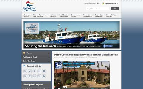 Screenshot of Home Page portofsandiego.org - Port of San Diego - Port of San Diego - captured Sept. 23, 2014
