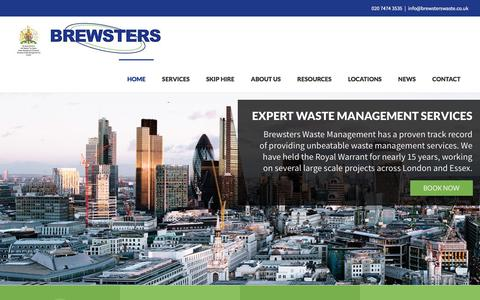 Screenshot of Home Page brewsterswaste.co.uk - Brewsters Waste Management: Skip hire and services in London & Essex - captured Oct. 11, 2017