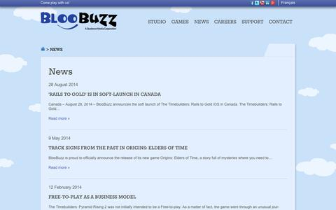Screenshot of Press Page bloobuzz.com - Bloobuzz » News - captured Sept. 30, 2014