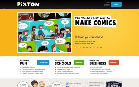 Screenshot of Home Page pixton.com - Pixton | Comics | Make a Comic - captured Sept. 23, 2014