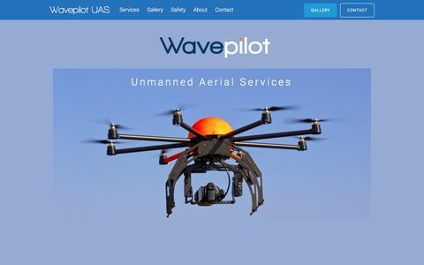 Screenshot of Home Page wavepilot.com - Wavepilot UAS – Unmanned Aerial Services - captured May 10, 2017