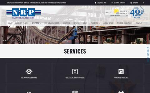 Screenshot of Services Page nrp.com.au - NRP Electrical Services - captured Oct. 19, 2018