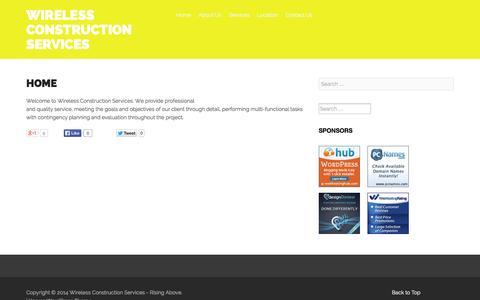 Screenshot of Home Page wcschicago.com - Home - Wireless Construction Services - captured Oct. 7, 2014