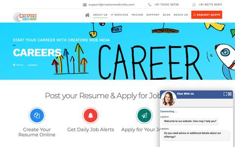 Screenshot of Jobs Page creatorswebindia.com - Leading Web Design Company | Website Outsourcing Companies in India - captured Nov. 5, 2018