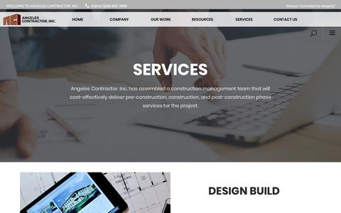 Screenshot of Services Page angelescontractor.com - Services - Angeles Contractor, Inc. - captured Oct. 3, 2018